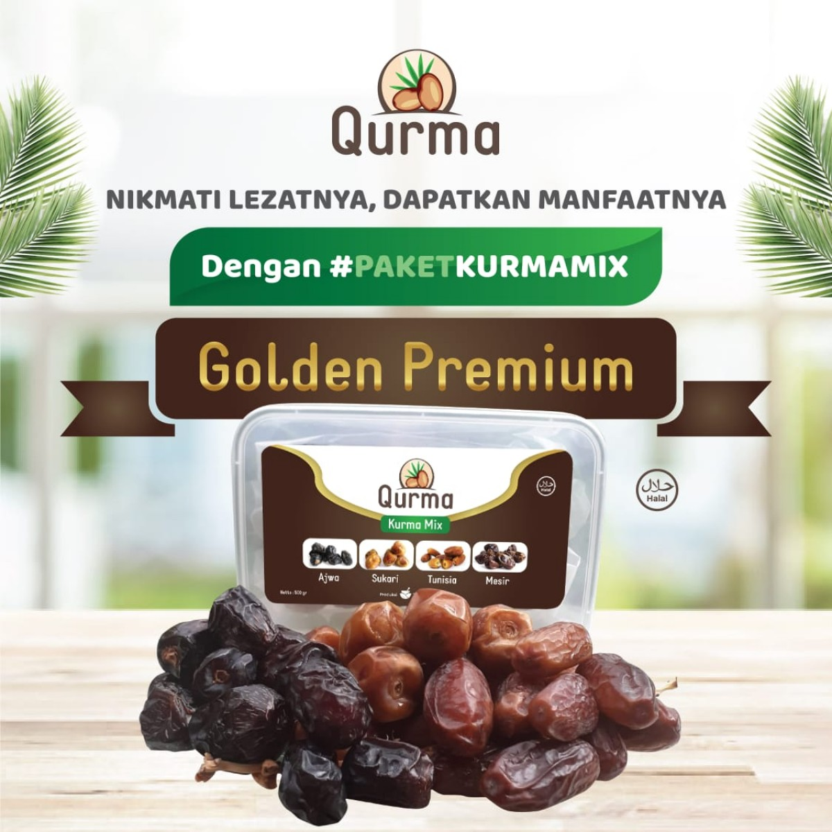 PAKET KURMA MIX PREMIUM ( AJWA - SUKARI - TUNISIA - MADU MESIR) 500 GR